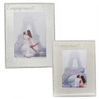 "Engagement Sparkle Mirror Glass 4"" x 6"" Photo Frame"
